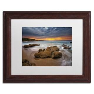 Lincoln Harrison 'Beach at Sunset 5' White Matte, Wood Framed Wall Art