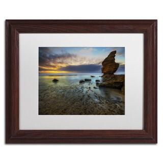 Lincoln Harrison 'Beach at Sunset 3' White Matte, Wood Framed Wall Art