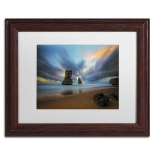 Lincoln Harrison 'Beach at Sunset 2' White Matte, Wood Framed Wall Art