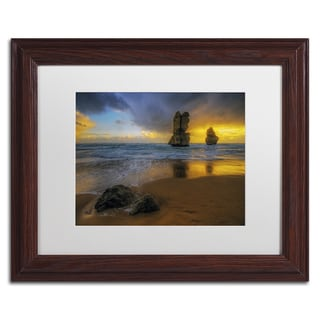 Lincoln Harrison 'Beach at Sunset' White Matte, Wood Framed Wall Art