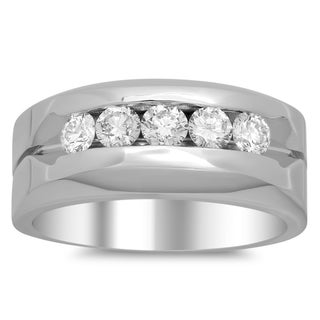 14k White Gold Men's 1 1/10ct TDW Diamond Wedding Ring (F-G, SI1-SI2)