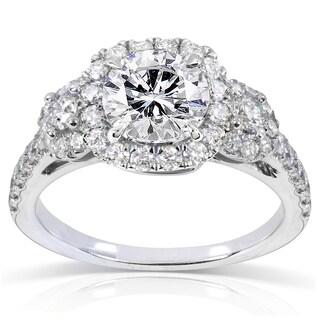 Annello by Kobelli 14k White Gold 1 3/4ct TDW Round Diamond Three Stone Halo Engagement Ring