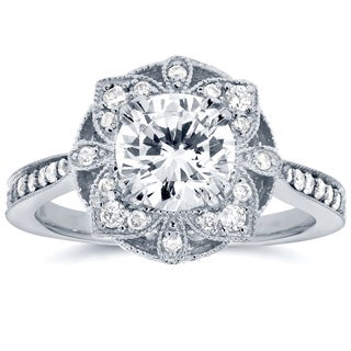 Annello by Kobelli 14k White Gold 1 1/4ct TDW Round Diamond Floral Antique Engagement Ring