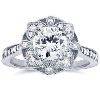 Annello by Kobelli 14k White Gold 1 1/4ct TDW Round Diamond Floral Antique Engagement Ring