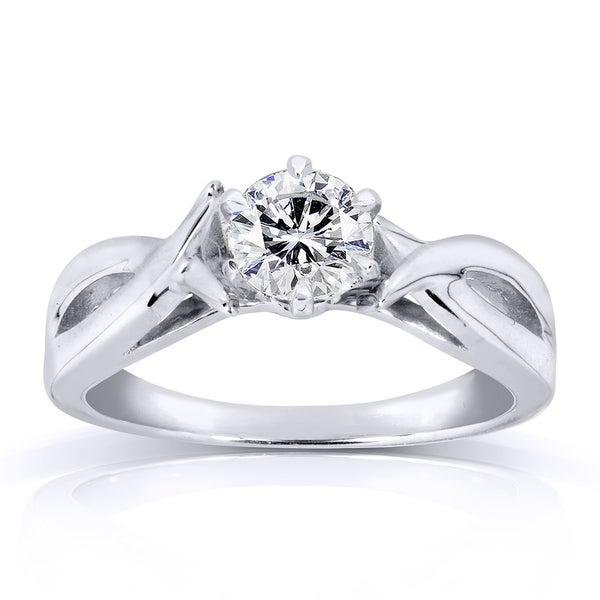 Annello by Kobelli 14k White Gold 1/2ct Diamond Solitaire Engagement Ring