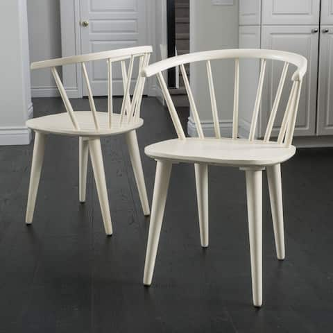 Countryside Rounded Back Spindle Wood Dining Chair (Set of 2) by Christopher Knight Home