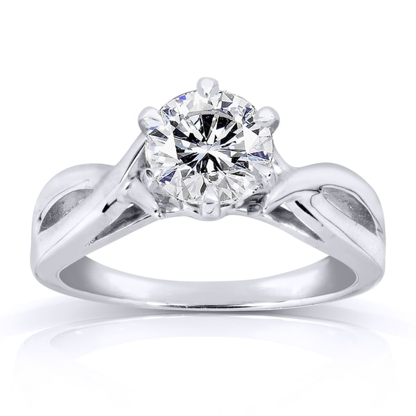 Annello by Kobelli 14k White Gold 1 Carat Round Brilliant Diamond Solitaire Crossover Engagement Ring