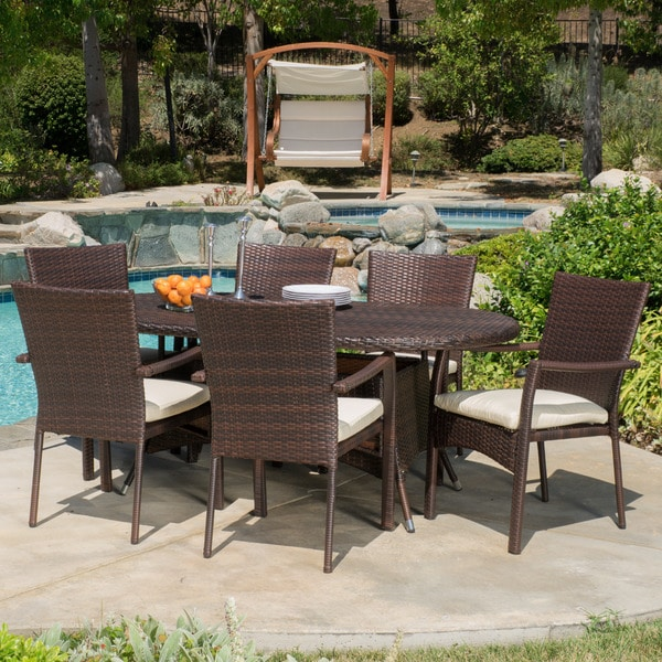 McNeil Outdoor 7 piece Wicker Dining Set with Cushions by
