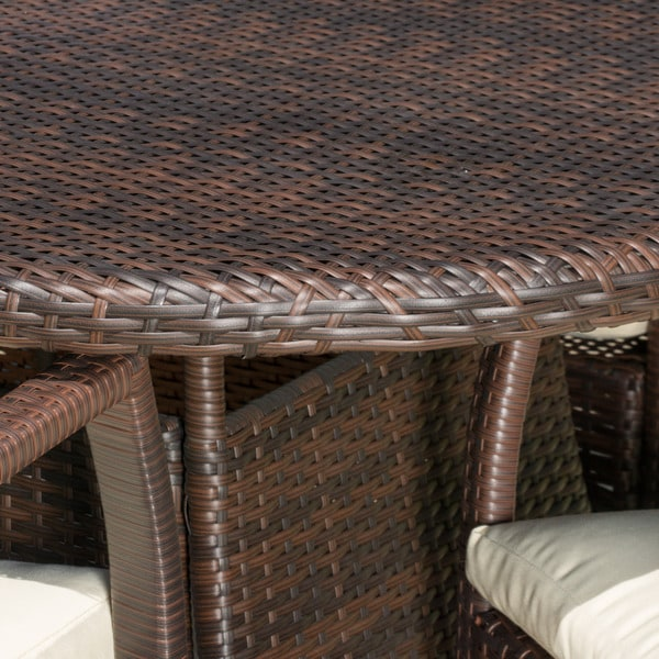 McNeil Outdoor 7 Piece Wicker Dining Set With Cushions By Christopher  Knight Home   Free Shipping Today   Overstock.com   17570176
