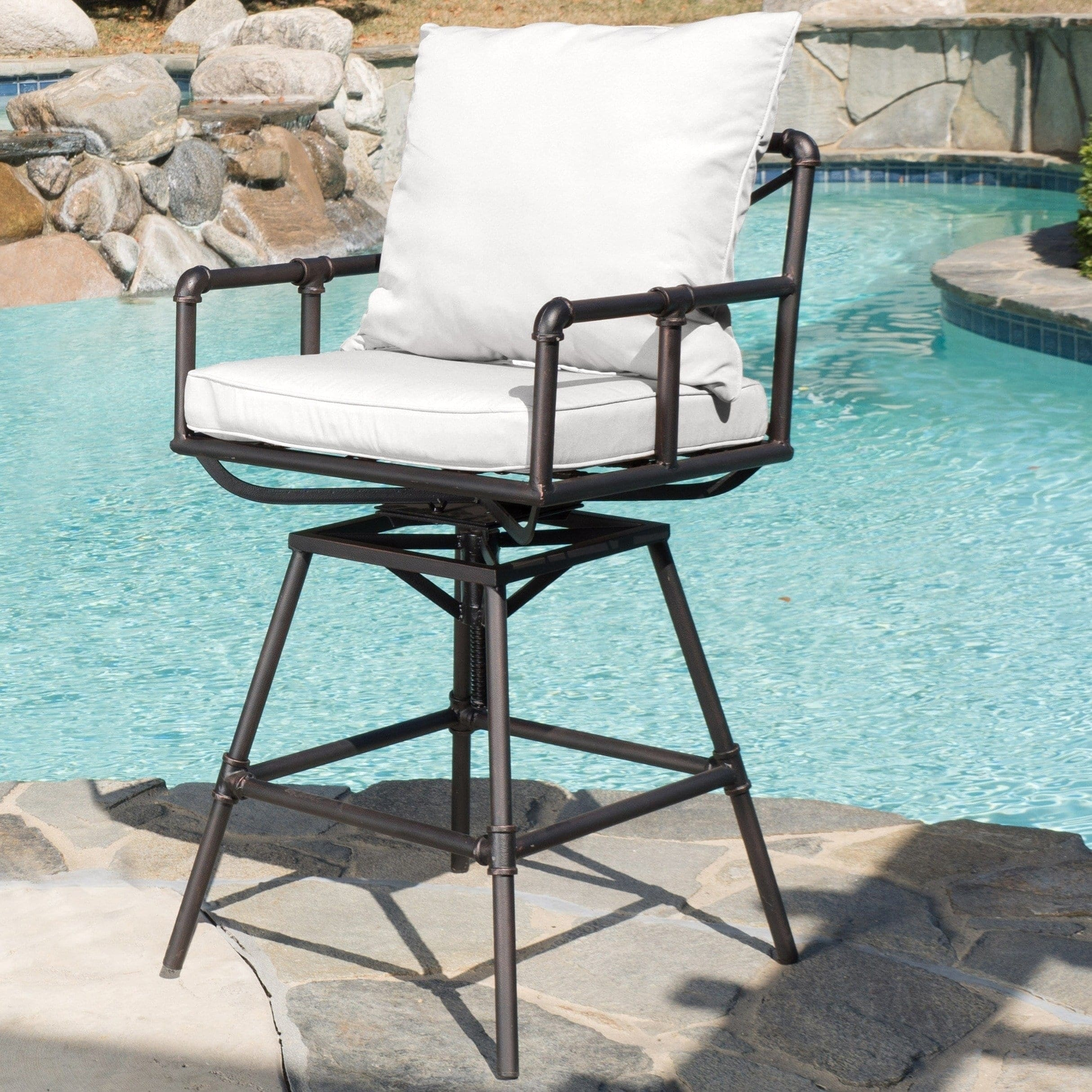 Astonishing Northrup Pipe Outdoor Adjustable Barstool With Cushions By Christopher Knight Home Evergreenethics Interior Chair Design Evergreenethicsorg