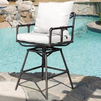 Northrup Pipe Outdoor Adjustable Barstool with Cushions by Christopher Knight Home