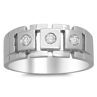 14k White Gold Men's 1/3ct TDW Diamond Link Ring (F-G, SI1-SI2)