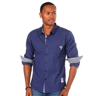 Something Strong Men's Solid Blue Shirt with Pocket Detail