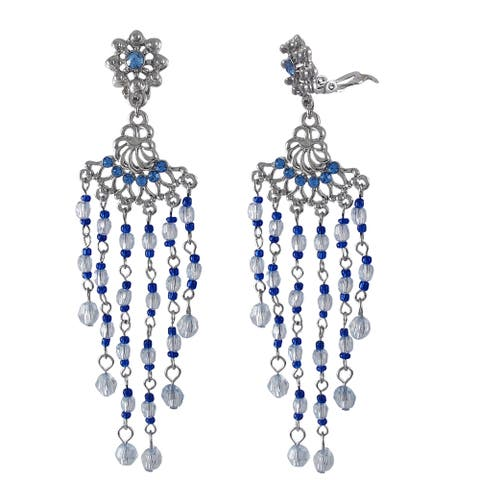 Luxiro Rhodium Finish Blue Crystal and Bead Chandelier Clip-on Earrings
