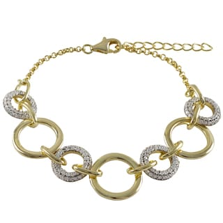 Luxiro Two-tone Gold Finish Pave Cubic Zirconia Circle Link Bracelet