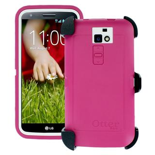OtterBox Defender Series Case for LG G2 - Retail Packaging - White/Pink