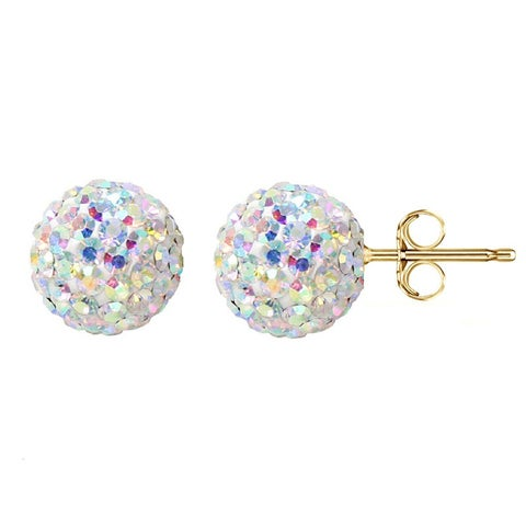 Pori 14k Yellow Gold AB Pave Crystal 7.5mm Ball Stud Earrings