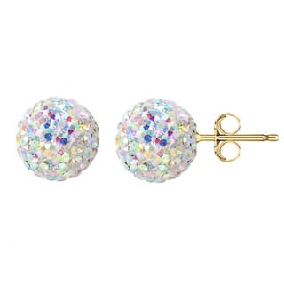 Pori 14k Yellow Gold AB Pave Crystal 7.5mm Ball Stud Earrings|https://ak1.ostkcdn.com/images/products/10481746/P17570426.jpg?impolicy=medium
