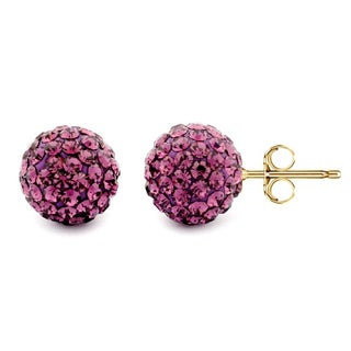 Pori 14k Yellow Gold Amethyst Pave Crystal 7.5mm Ball Stud Earrings