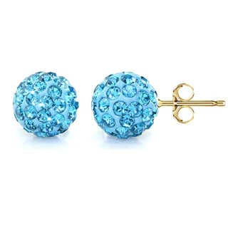 Pori 14k Yellow Gold Aquamarine Pave Crystal 7.5mm Ball Stud Earrings