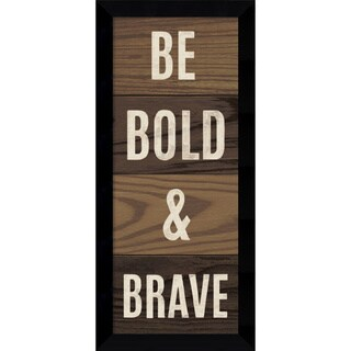 Michael Mullan 'Wood Sign - Bold and Brave Panel' Framed Art Print 15 x 33-inch