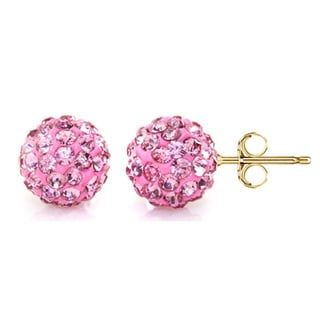 Pori 14k Yellow Gold Rose Pave Crystal 7.5mm Ball Stud Earrings