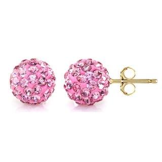 Pori 14k Yellow Gold Rose Pave Crystal 7.5mm Ball Stud Earrings