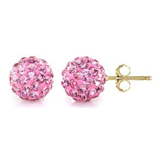 Pori 14k Yellow Gold Rose Pave Crystal 7.5mm Ball Stud Earrings|https://ak1.ostkcdn.com/images/products/10481758/P17570418.jpg?impolicy=medium