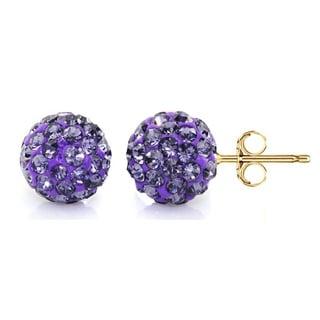 Pori 14k Yellow Gold Tanzanite Pave Crystal 7.5mm Ball Stud Earrings