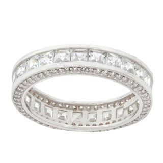 PoriWhite Gold Plated Sterling Silver Princess-cut Inside-out Cubic Zirconia Eternity Band