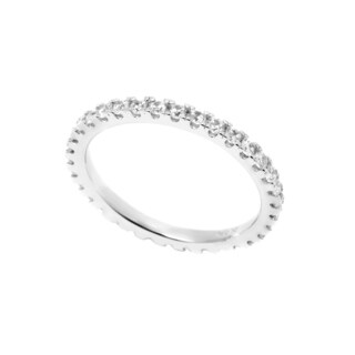 Pori White Goldplated Sterling Silver 2Mm Round Prong Cubic Zirconia Eternity Band