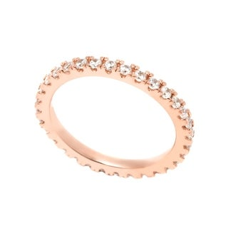 Pori 18k Rose Goldplated Sterling Silver 2mm Round Prong Cubic Zirconia Eternity Band