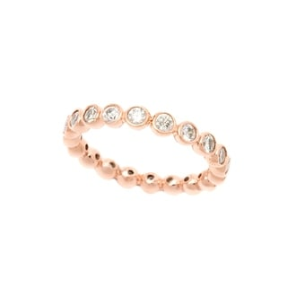 Pori 18k Rose Goldplated Sterling Silver Round Bezel Cubic Zirconia Eternity Band
