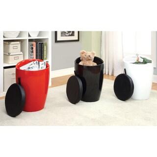 Furniture of America Kandee Glossy Padded Storage Stool