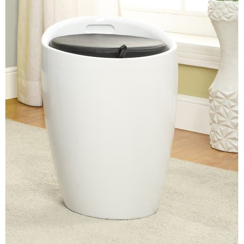 Furniture of America Hala Contemporary Faux Leather Storage Stool