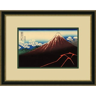 Katsushika Hokusai 'Lightning Below the Summit' Framed Art Print 23 x 18-inch