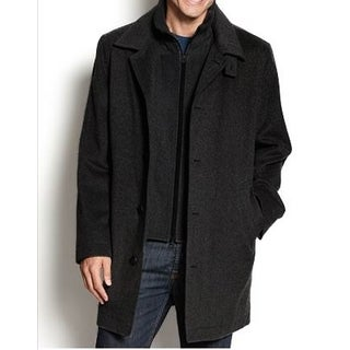 Nautica Men's Black Single-Breasted Wool Overcoat