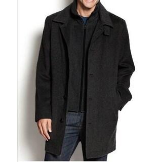 Nautica Men's Black Single-Breasted Wool Overcoat