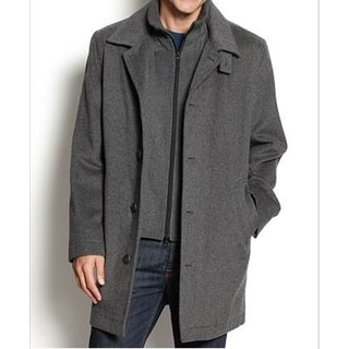 Nautica Men's Grey Single-Breasted Wool Overcoat
