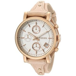 Fossil Women's Original Boyfriend Chronograph White Dial Sandy Leather Watch ES3748
