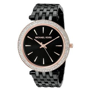 Michael Kors Women's Darci Diamond Black Dial Black Stainless Steel Bracelet Watch MK3407