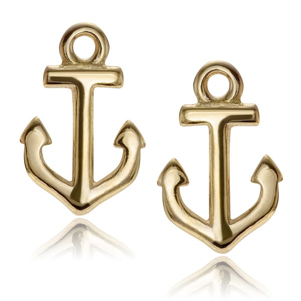 Journee Collection Sterling Silver Polished Anchor Stud Earrings