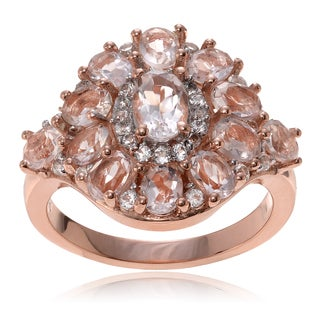 Journee Collection 14k Rose Goldplated Sterling Silver Morganite Topaz Cluster Ring
