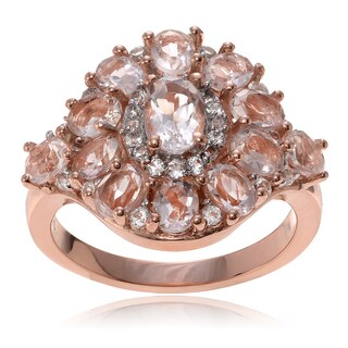 Journee Collection Rose Goldplated Sterling Silver Morganite Topaz Cluster Ring