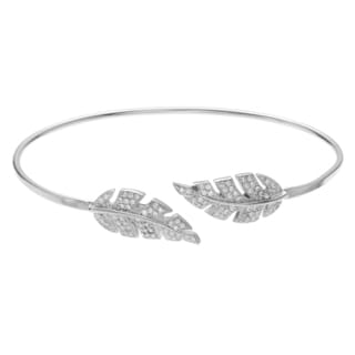Journee Collection Rhodium-plated Sterling Silver CZ Leaf Open Cuff