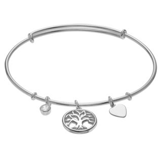 Journee Collection Sterling Silver Cubic Zirconia Accent Tree of Life Bangle