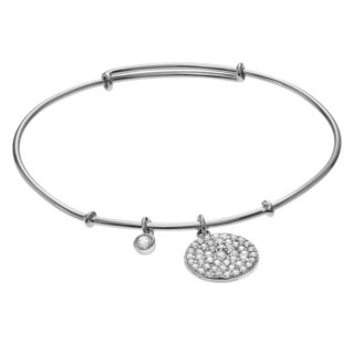 Journee Collection Rhodium-plated Sterling Silver CZ Disc Charm Bangle