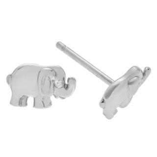 Journee Collection Sterling Silver Vermeil CZ Elephant Stud Earrings