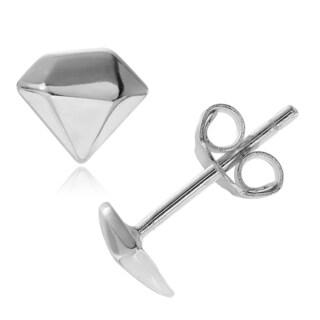 Journee Collection Sterling Silver Diamond Shape Stud Earrings