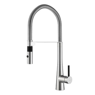 KRAUS Crespo Flex Single-Handle Commercial Style Kitchen Faucet with Dual-Function Sprayer in Stainless Steel